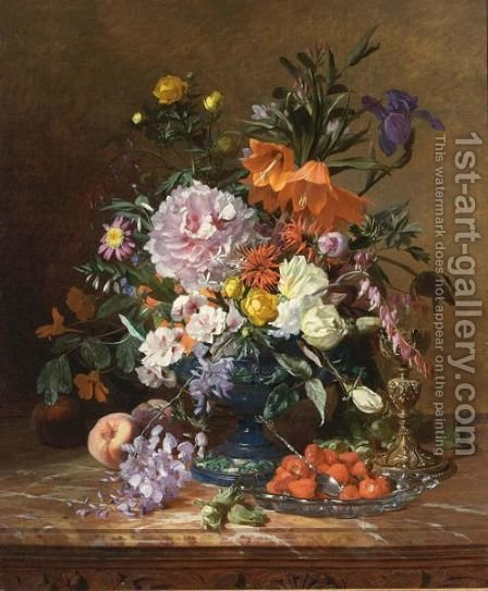 A Still Life With Flowers And Fruit by David Emil Joseph de Noter - Reproduction Oil Painting