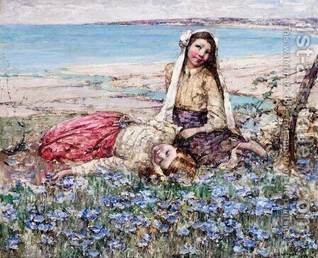 Picking Violets, Brighouse Bay by Edward Atkinson Hornel - Reproduction Oil Painting