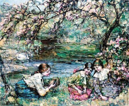 The Bird's Nest by Edward Atkinson Hornel - Reproduction Oil Painting