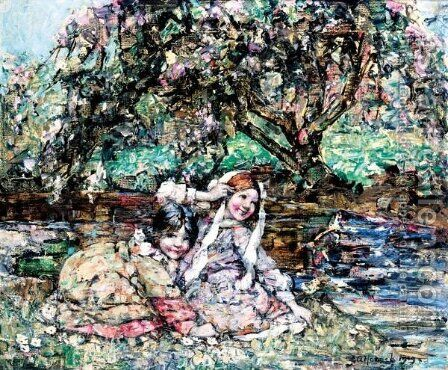 Girls Under The Blossom Tree by Edward Atkinson Hornel - Reproduction Oil Painting