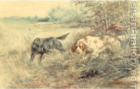 Setters In The Field by Edmund Henry Osthaus - Reproduction Oil Painting