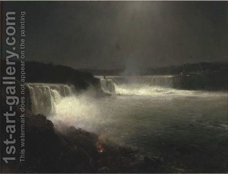 Niagara Falls Nocturne by Herman Herzog - Reproduction Oil Painting
