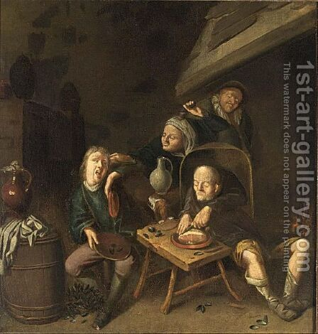 Peasants Drinking And Eating Near A Fireplace by (after) Jan Miense Molenaer - Reproduction Oil Painting