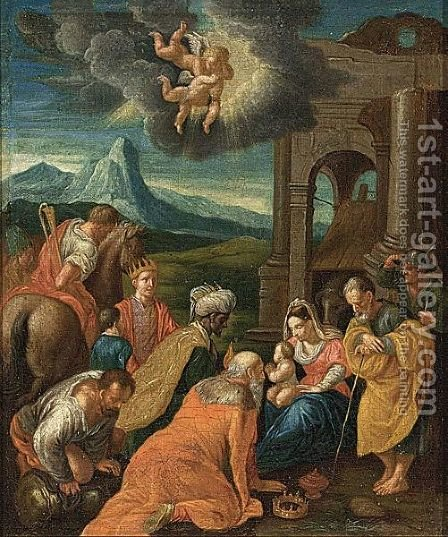 The Adoration Of The Magi by (after) Jacopo Bassano (Jacopo Da Ponte - Reproduction Oil Painting