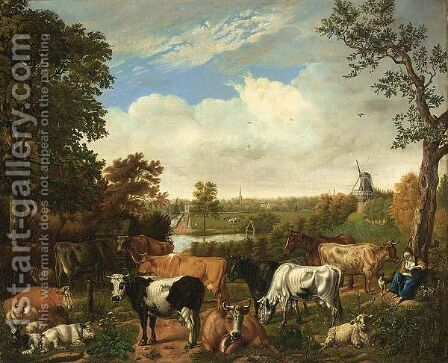A Wooded Landscape With A Shepherdess Resting Under A Tree With Sheep, Goats And Cows, Rijswijk With The Oude Kerk Beyond by Jan van Gool - Reproduction Oil Painting