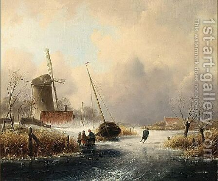 A Winter Landscape With Figures On The Ice 2 by Cornelis Petrus T' Hoen - Reproduction Oil Painting