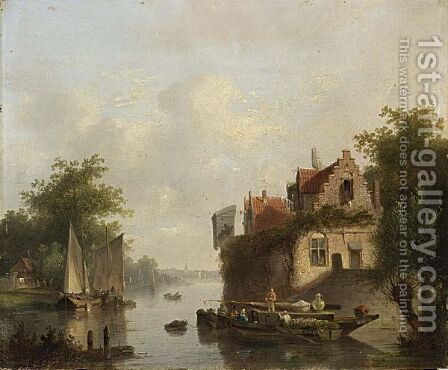 A Riverlandscape With Moored Sailingvessels by Dutch School - Reproduction Oil Painting
