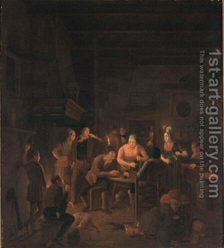 A Tavern Interior With Villagers by Christoffel Wust - Reproduction Oil Painting