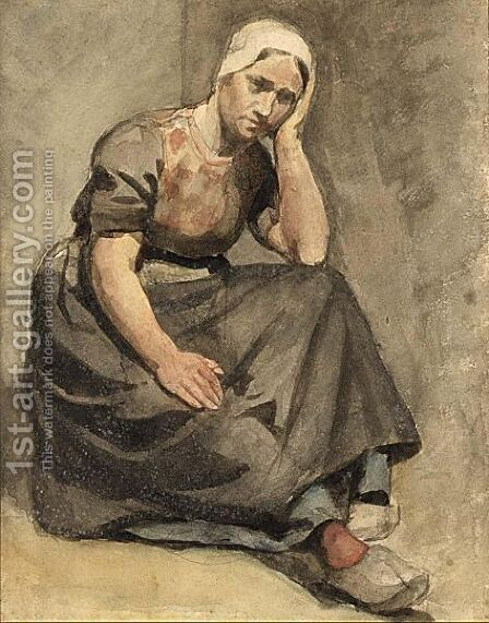 A Peasant Woman by Albert Neuhuys - Reproduction Oil Painting