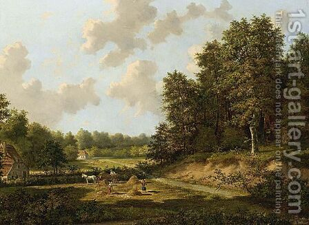 The Hay Harvest by Cornelis Francois Roos - Reproduction Oil Painting