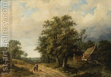 Figures On A Path In A Landscape by Hendrik Pieter Koekkoek - Reproduction Oil Painting