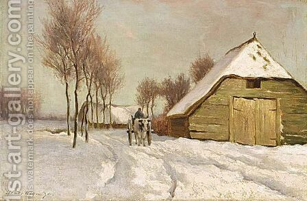 A Peasant In A Winter Landscape by Hendrik Klijn - Reproduction Oil Painting