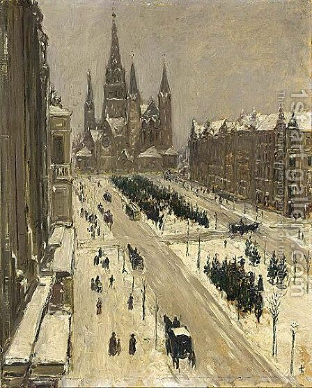 View Of The Tauenzienstrasse Berlin by Carel Nicolaas Storm Van 's-Gravesande - Reproduction Oil Painting