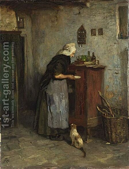 Feeding The Cat 2 by Jacques Abraham Zon - Reproduction Oil Painting