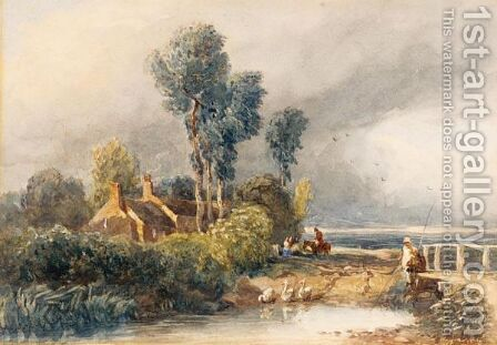 Children Fishing By A Bridge, Cottages Beyond by David Cox - Reproduction Oil Painting
