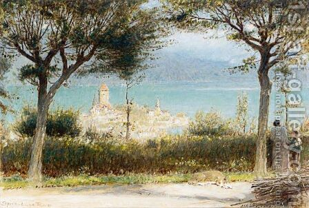The Town Of Spiez, Lake Of Thun by Albert Goodwin - Reproduction Oil Painting