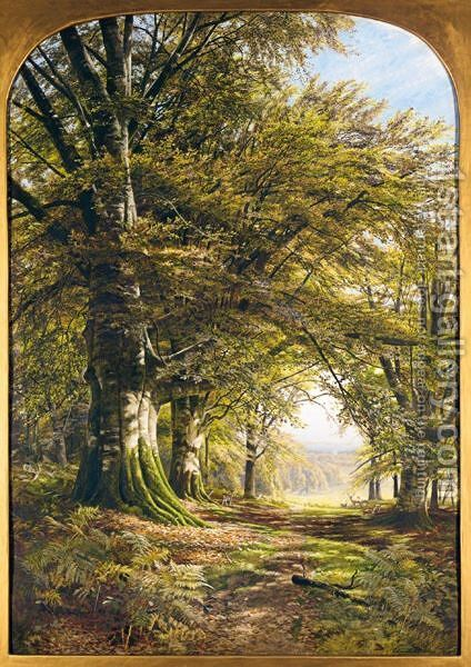 Deer In A Beech Wood by Edmund George Warren - Reproduction Oil Painting