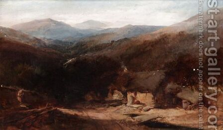 A Welsh Mountain View With Figures By A Croft by Henry Bright - Reproduction Oil Painting