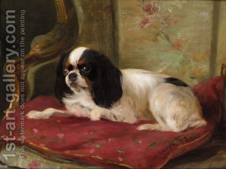 A Cavalier King Charles Spaniel by Cuthbert Edmund Swan - Reproduction Oil Painting
