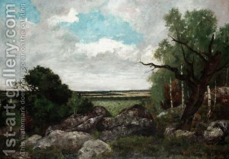 Landscape At Fontainebleau by Barbizon School - Reproduction Oil Painting