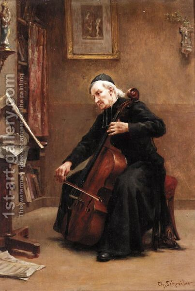 A Musical Moment by Charles-Baptiste Schreiber - Reproduction Oil Painting