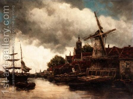 Dutch Harbour Views by Jan van Vlaardingen Couver - Reproduction Oil Painting
