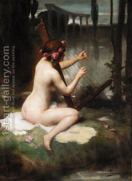 The Harp Player by Adrien Henri Tanoux - Reproduction Oil Painting