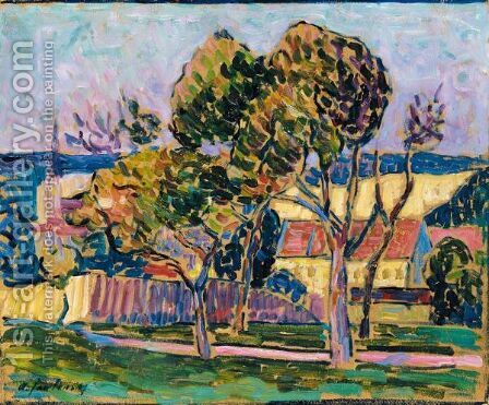 Landschaft (Wasserburg Am Inn) (Landscape - Wasserburg Am Inn) by Alexei Jawlensky - Reproduction Oil Painting