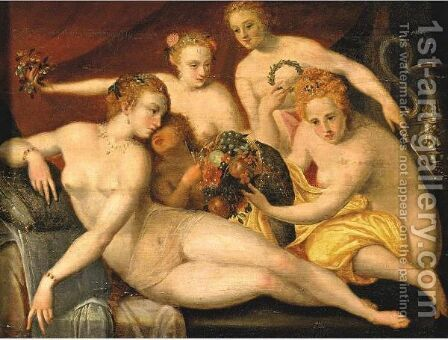 The Three Graces by (after) Frans, The Elder Floris - Reproduction Oil Painting