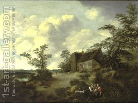 Figures Gathered Outside A Cottage In An Extensive Landscape by (after) Cornelis Van Zwieten - Reproduction Oil Painting
