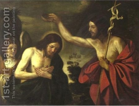 Baptism Of Christ by (after) Giovanni Francesco Guercino (BARBIERI) - Reproduction Oil Painting