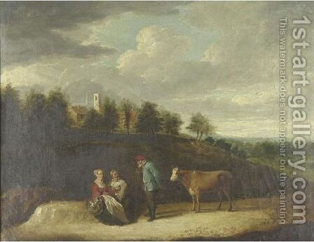 A Farmer With His Cow And Two Peasant Women On A Country Path With A Church And Village Beyond by (after)  David The Younger Teniers - Reproduction Oil Painting