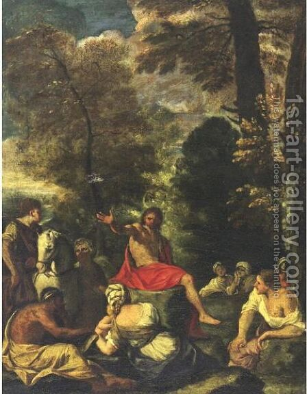 Saint John The Baptist Preaching To The Multitude 2 by (after) Pier Francesco Mola - Reproduction Oil Painting