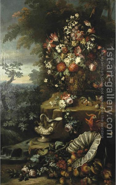 Still Life With A Basket Of Flowers, Fruit And Parrot by (after) Gasparo Lopez - Reproduction Oil Painting