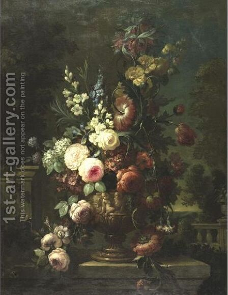 Still Life Of Flowers In An Elaborate Urn On A Marble Ledge by (after) Jan-Baptist Bosschaert - Reproduction Oil Painting