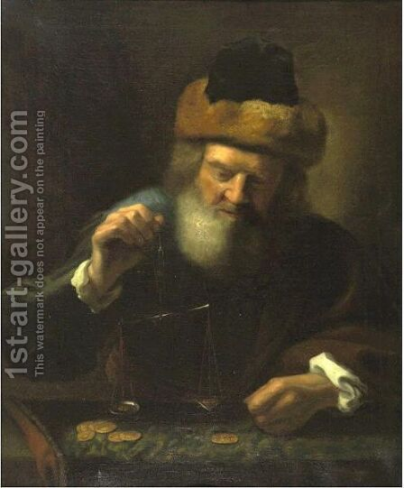 Gold Weigher by Dutch School - Reproduction Oil Painting