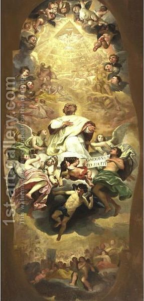 Saint Raising In Glory Study For A Ceiling by Italian School - Reproduction Oil Painting