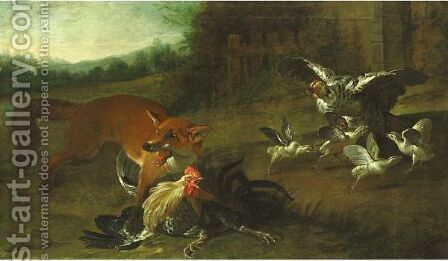 Fox Attacking Chickens by (after) Pieter Casteels III - Reproduction Oil Painting