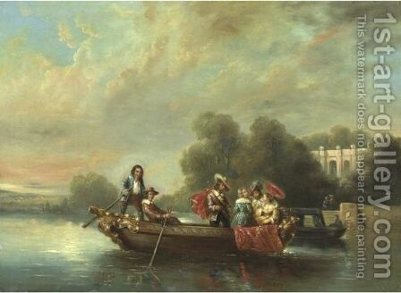 Elegant Boating Party by James Holland - Reproduction Oil Painting