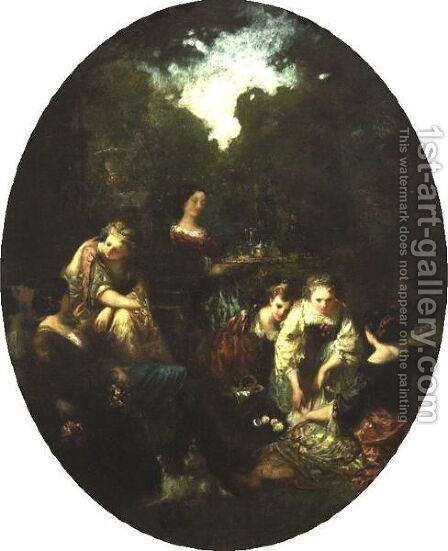 Figures In A Garden by Adolphe Joseph Thomas Monticelli - Reproduction Oil Painting
