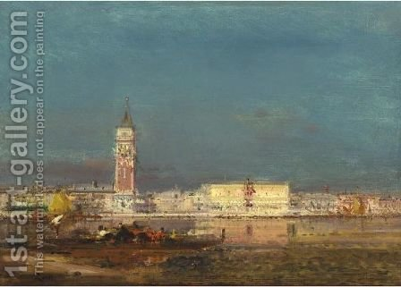 View Of Venice by Henri Duvieux - Reproduction Oil Painting