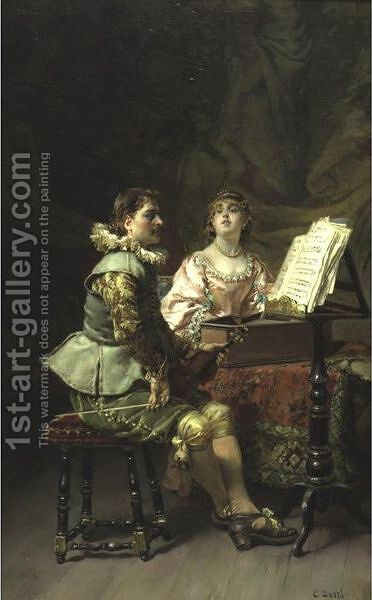 The Duet by Cesare-Auguste Detti - Reproduction Oil Painting