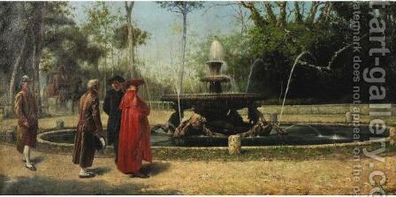 A Stroll By The Fountain by Achille Guerra - Reproduction Oil Painting