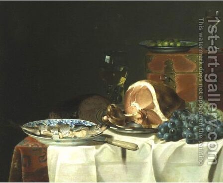 Still Life With Wine And Food On A Table by Dutch School - Reproduction Oil Painting