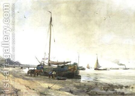 View Of Rotterdam Harbor by August Willem van Voorden - Reproduction Oil Painting