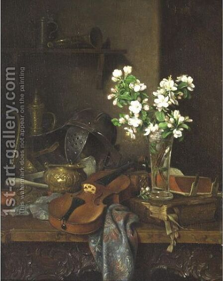 Still Life On A Carved Wooden Table by Camilla Edle Von Malheim Friedlander - Reproduction Oil Painting