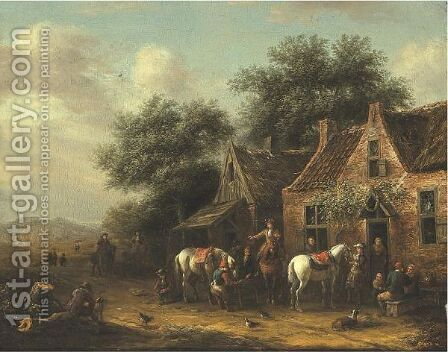 Horsemen Beside A Cottage by Barend Gael or Gaal - Reproduction Oil Painting