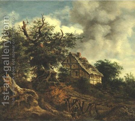 Landscape With A Cottage And A Bridge by (after) Jacob Van Ruisdael - Reproduction Oil Painting
