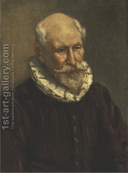 Portrait Of An Old Man, Bust Length, Wearing A Ruff Collar by (after) El Greco (Domenikos Theotokopoulos) - Reproduction Oil Painting