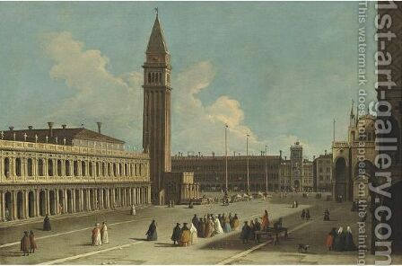 Venice, A View Of The Piazzetta Looking Northwards Across The Piazza San Marco Towards The Torre Dell'Orologio by (after) Johann Richter - Reproduction Oil Painting